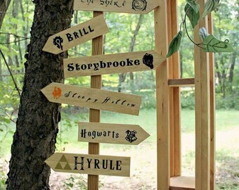 Custom arrow adventure wedding signs