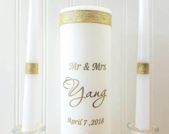 Unity Candle ceremony  Gold set with wedding Ceremony Custom  Set Rustic Wedding Candle Made to order