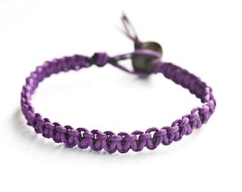 Purple and Black Hemp Bracelet Friendship Stackable, Girlfriend Gift, Hippie Bracelet, Hemp Jewelry
