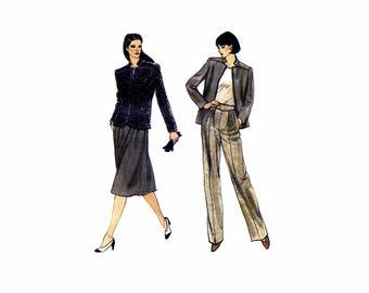 Misses Jacket Straight Leg Pants Flared Skirt Vogue 7840 Vintage Sewing Pattern Size 10 Bust 32 1/2 UNCUT