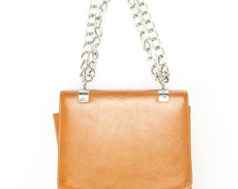 Vintage 70s Vinyl Purse Chain Strap Shoulder Bag Golden Tan Handbag 1970s