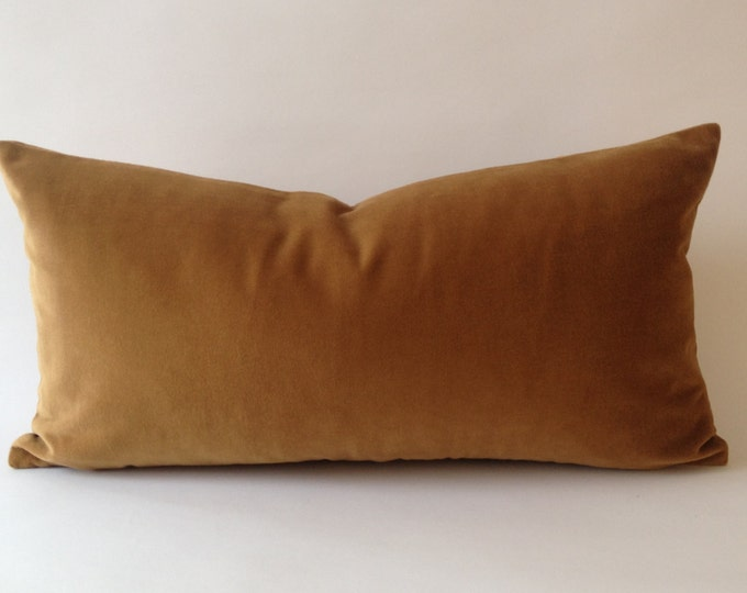 Camel Brown Decorative Bolster Pillow Cover-  Medium Weight Cotton Velvet- Invisible Zipper Closure- - Knife Or Piping Edge