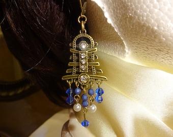 Tibetan style earrings/Tibetan Jewelry earrings/Blue earrings/Tibet Chandalier earrings/aretes