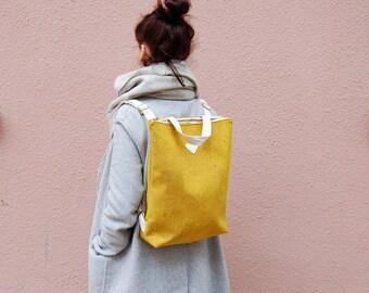 Vegan backpack, cork backpack, bergl backpack, cork bag, vegan bag, cork, vegan leather, cork backpack Yellow