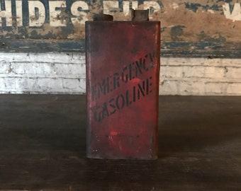 Vintage Emergency Gasoline Hand Painted Can Automotive Garage Decor