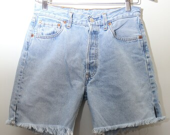 "90's Vintage ""LEVI'S"" Cutoff High-Waist Light Blue Jean Shorts Sz: Waist 29 (Women's Exclusive)"