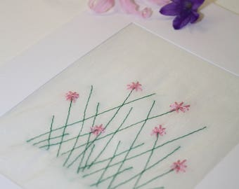Handmade Embroidered Floral Greetings Gift Card