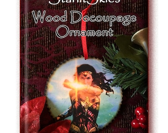 Super Hero 'Wonder Woman' Ornament, 3 inch Decoupage Disc with wood burned edges