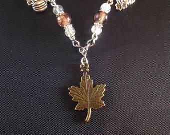 Brown maple leaf bracelet