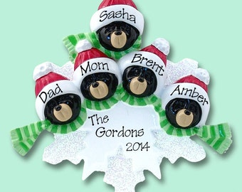 Black Bear Family of 5 on Snowflake Hand Painted RESIN Personalized Christmas Ornament