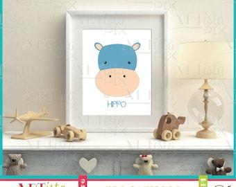 Nursery Wall Art, Zoo Animals Wall Art, Hippo Wall Art, Printable Wall Art, Instant Download, Hippopotamus