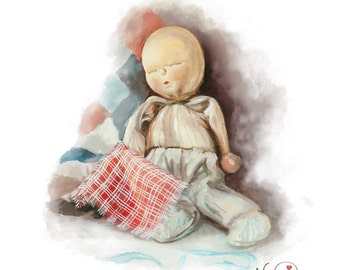 Oil Painting Art Print Cottage Chic Home Decor,Nursery Art Antique Sleeping Baby Doll - quilt & blanket -1950's crib doll in silk pajamas
