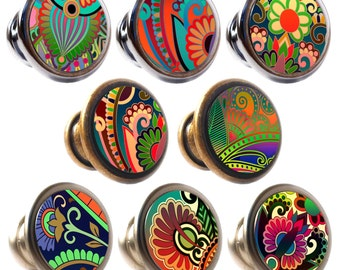 Paisley Decorated Zinc Alloy 30mm Drawer Cupboard Cabinet Knobs