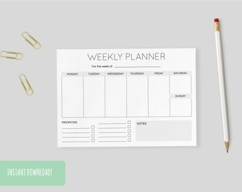 Weekly Planner Minimal   A4 and US letter size PDFs included – INSTANT DOWNLOAD
