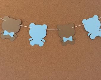 Bear garland, baby shower garland, teddy bear garland, paper garland, Baby blue and Kraft bear garland