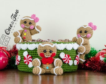 Gingerbread Christmas Basket - PDF Crochet Pattern - Instant Download - Xmas Basket Useful Colorful
