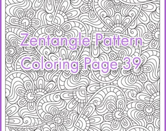 "Coloring pages ZENTANGLE ""Heart"", PDF zentangle pattern, printable art tangle inspired"