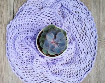 SALE - Scarf, Crochet weave in Lilac. A lightweight scarf/shoulder wrap