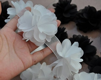 3D Chiffon Rosette Blossom Trim, Chiffon Fabric Flowers, wedding decors, 3d rose flowers trim, prop, backdrop, handmade chiffon flowers