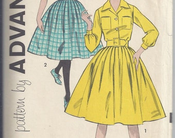 Advance Pattern # 9164 from 1959 Subteen Dress with shirtwaist bodice and full skirt.  Bust 28