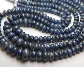 7 Inch Strand,Natural Madagascar Blue SAPPHIRE Smooth Rondelles Shape,8-12mm