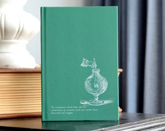 """One """"Vintage Science Experiments"""" Notebook - TEAL Charcoal Experiment Art  1888 Textbook Illustrations   Chemistry Teacher Scientist"""