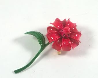 Vintage Red Daisy Flower Brooch - Single Stem - Retro Jewelry Pin 1960s