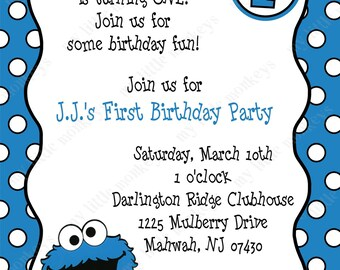 10 Cookie Monster Birthday Invitations with Envelopes.  Free Return Address Labels