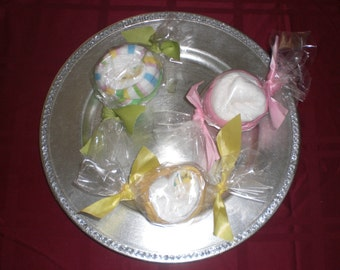 Diaper Taffy centerpiece baby shower diaper cake candy baby shower favor and game