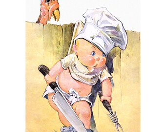 Thanksgiving Card - Boy Chef with Turkey -  Charles Twelvetrees