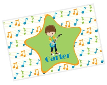 Rock Star Personalized Placemat - Rock Star Boy Musical Notes Star with Name, Customized Laminated Placemat