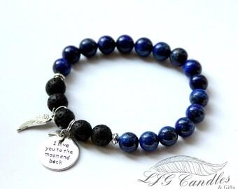Memorial Bracelet, Lapis Lazuli Bracelet,  Memorial Jewelry, Diffuser Jewelry, Sympathy Gift, Bereavement Gift, Gift for Loss