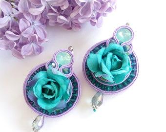 Earrings  soutache turquoise lilac.