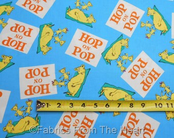 Dr. Seuss Hop the Pop Characters on Blue BY YARDS Robert Kaufman Cotton Fabric