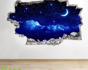 Moon And Stars Night Sky Wall Sticker 3d Look -  Sunset Boys Bedroom Lounge Z147