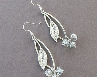 Sacred Garden Earrings Platinum Colored Swarovski Crystals Frozen Earrings