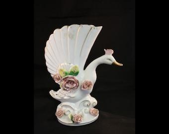 Vintage Porcelain White Swan Vase with Pink Floral