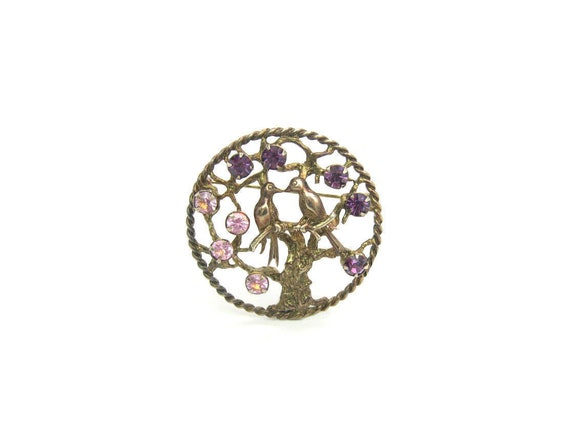 Vintage Sterling Silver Vermeil Love Birds in the Tree of Life Brooch