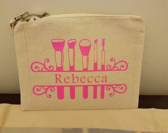Personalized canvas cosmetics bag