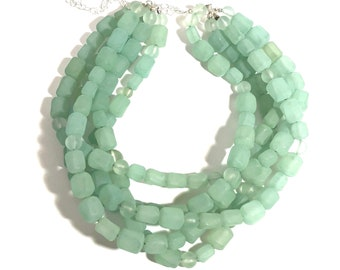 Mint Green Frosted Beaded Statement Necklace   Vintage Lucite Sylvie Multi Strand
