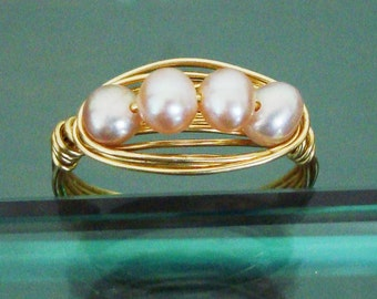 Custom listing for Kadsv23 Small Light Brown Fresh Water Pearl Nested Silver Ring