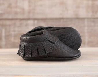 Black leather moccasins  Newborn, infant, toddler soft shoes