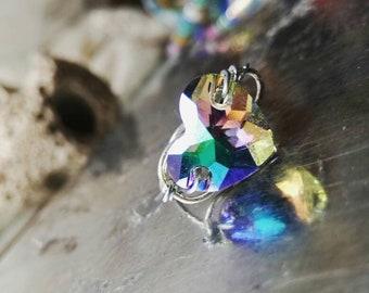 Heart ring, dainty ring, sterling silver ring, Swarovski ring, simple ring, bridesmaid ring, gift ring