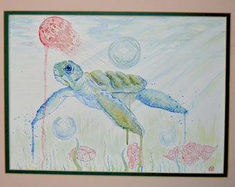 Turtle and Jellyfish (framed)