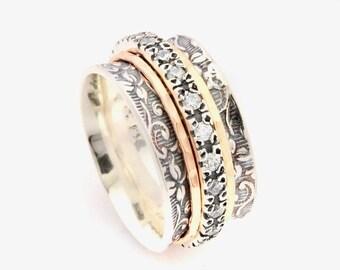 Spinner rings for women, meditation ring, zirconia vintage rings, silver fidget ring, multi stone ring, gold ring, CZ spinning ring,