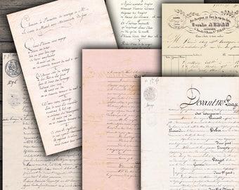 Vintage Handwritten Ephemera Printables - Digital Collage Sheet Download
