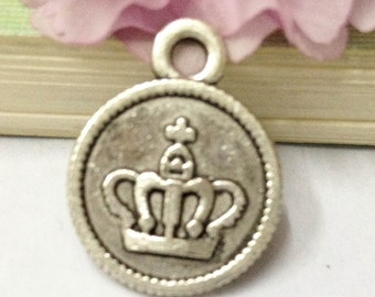 30pcs Antique Silver Round Crown Tag Charm Pendants 15mm AA506-4