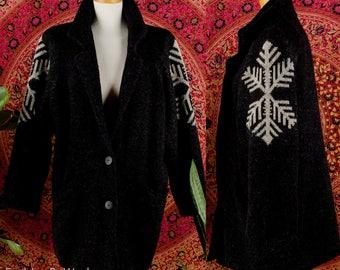 SNOWFLAKE Icelandic Wool Sweater Jacket Vintage 60's Dark Charcoal Gray Deep Plunging Blazer Cardigan Sweater Jacket Unisex S M L