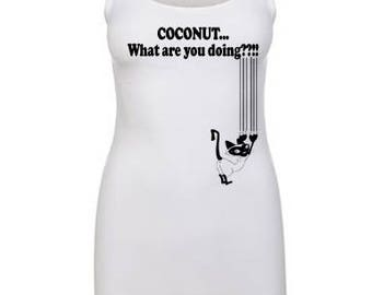 COCONUT... What are you doing??!! Women's White Cat Scratch Tank Top