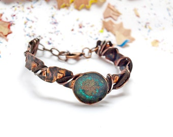Copper jewelry Blue patina bracelet Adjustable bracelets gift Rustic style bracelet Copper patina gift for her Women bracelet Patina jewelry